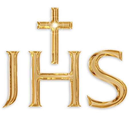 battesimo: ges� cristo monogramma isolato su sfondo bianco
