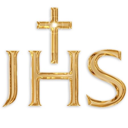 confirmacion: Jesucristo monograma aislado sobre fondo blanco Foto de archivo