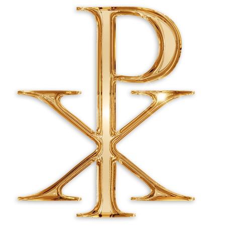 cresima: Chi Rho simbolo cristiano isolato su sfondo bianco