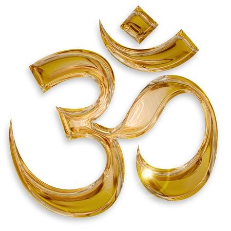 3d aum: hindu om icon isolated on white background Stock Photo