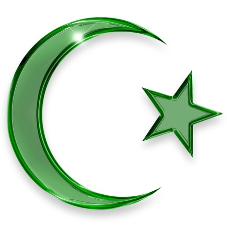 islam moon: green star and crescent emblem of islam