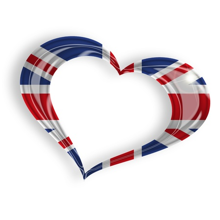 heart with british flag on white background photo
