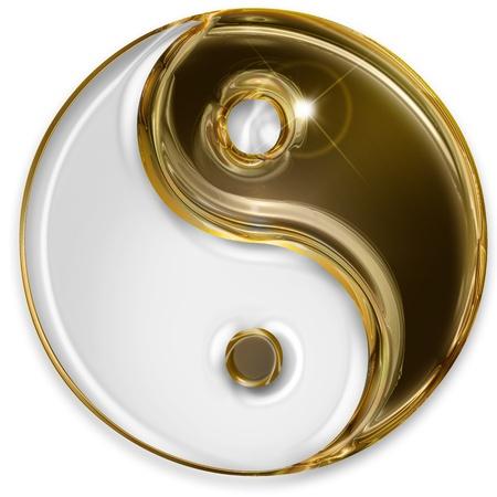 yang yin: yin yang s�mbolo aislado sobre fondo blanco Foto de archivo