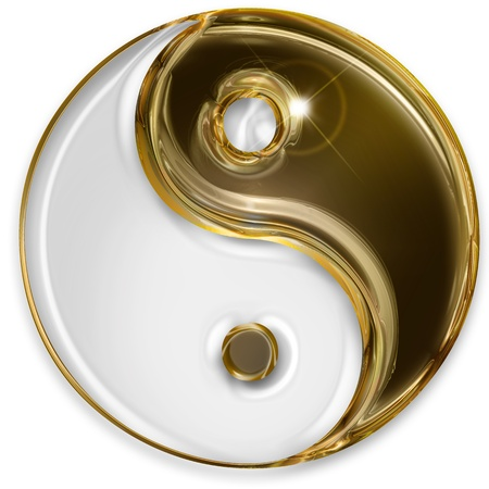 yin yang symbol isolated on white background photo