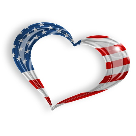 heart with american flag on white background photo