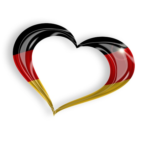bandera de alemania: coraz�n con los colores de bandera alemana en el fondo blanco