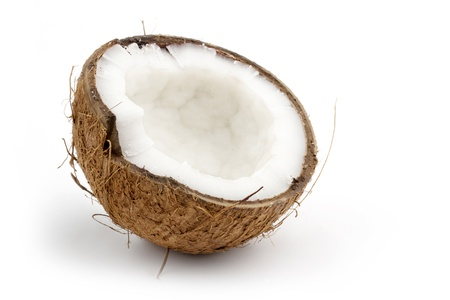 coconut cut in half isolated on white background photo