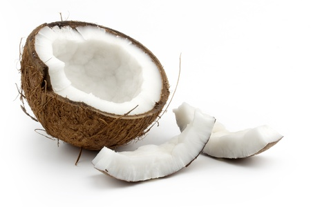 coconut cut in half on white background Stock Photo