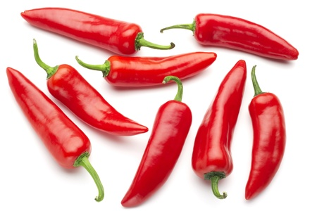 chili sauce: group of red chilies on white background Stock Photo