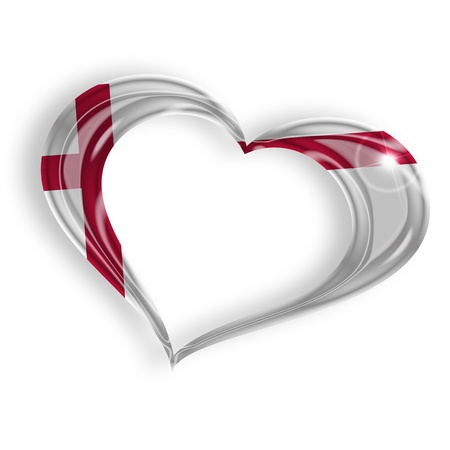 heart with english flag colors on white background photo