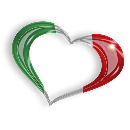 bandera italiana: corazón con los colores de la bandera italiana en el fondo blanco