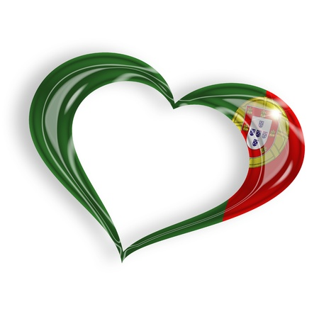 portugal flag: heart with portuguese flag colors on white background