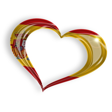 heart with spanish flag colors on white background photo