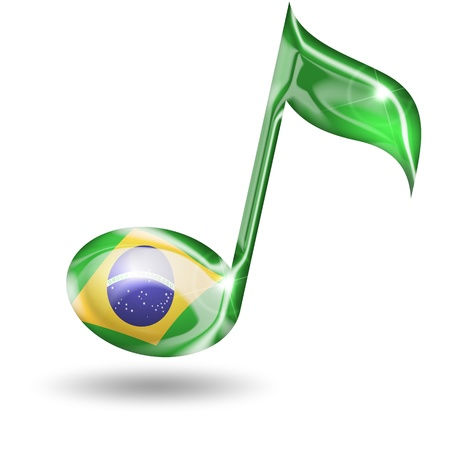 musical note with brazilian flag colors on white background photo