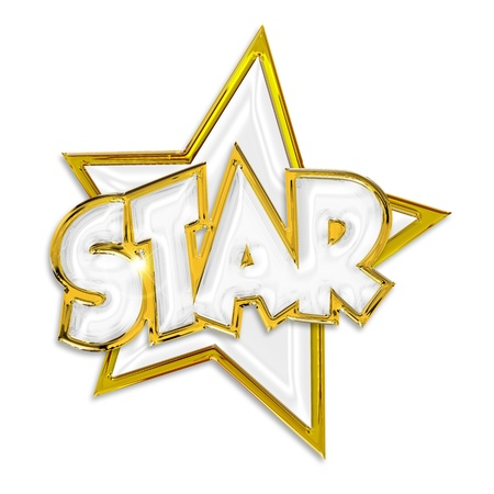 five stars: shining star word isolated on white background