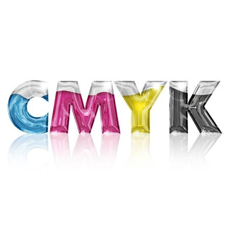 inkjet: letras transparentes CMYK aislados en fondo blanco Foto de archivo