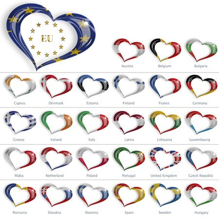 romania: heart-shaped flags of the countries of the European Union