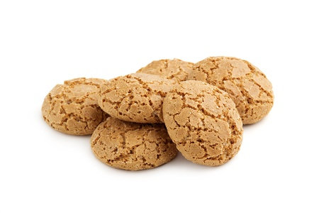 heap of almond cookies on white background Stock Photo - 18989492