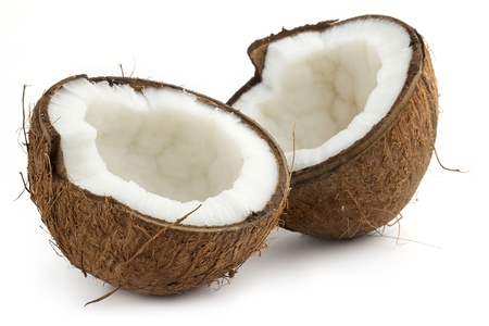 coconut cutted in half on white background photo