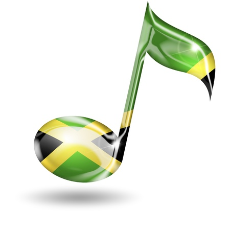 rap music: musical note with jamaican flag colors on white background Stock Photo