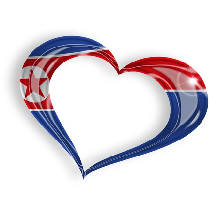 north korea: heart with north korean flag colors on white background Stock Photo