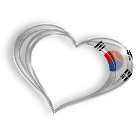 far east: corazón con los colores del pabellón coreano del sur en el fondo blanco