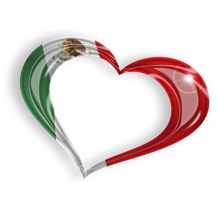 drapeau mexicain: coeur avec les couleurs du drapeau mexicain sur fond blanc