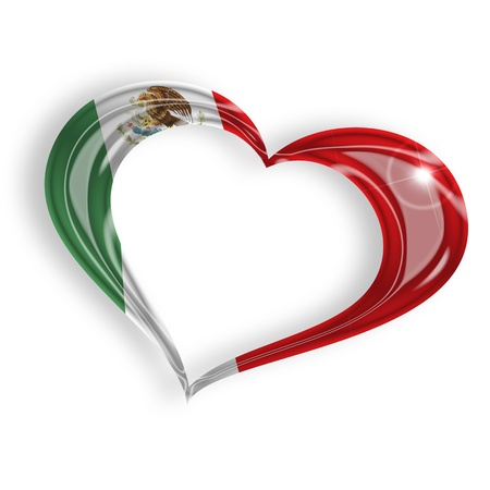 bandera de mexico: corazón con los colores de la bandera mexicana en el fondo blanco