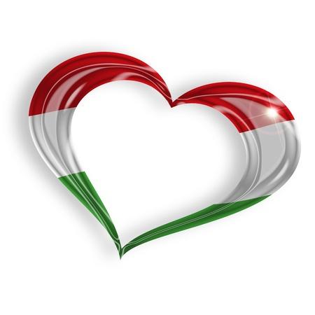 macar: beyaz zemin üzerine Macar bayrağı renkleri ile kalp
