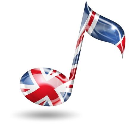 bandera inglesa: nota musical con colores de la bandera inglesa en el fondo blanco Foto de archivo