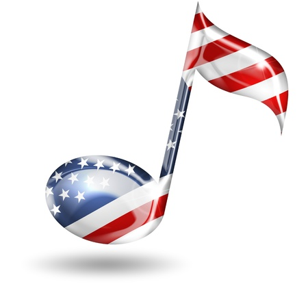 musical note: musical note with american flag colors on white background