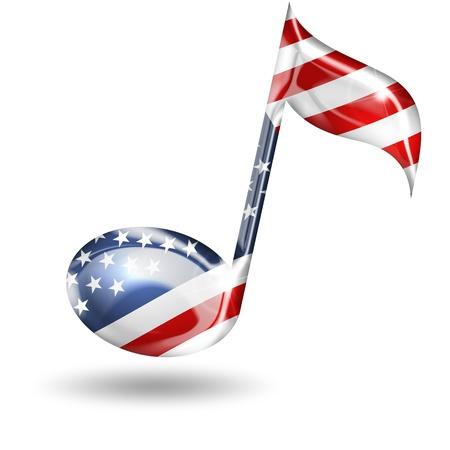 clave de sol: nota musical con colores de la bandera americana en el fondo blanco