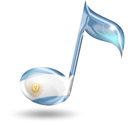 show folk: musical note with the colors of the Argentine flag Stock Photo