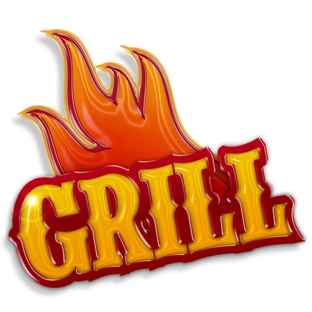 chicken grill: hot grill label isolated on white background