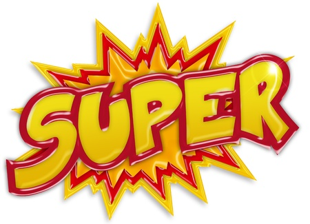 word balloon: explosive super label isolated on white background
