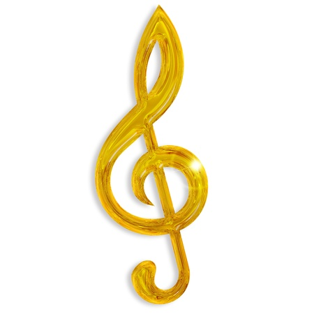g clef: golden treble clef isolated on white background