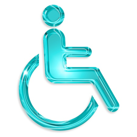 blue disabled symbol isolated on white background photo