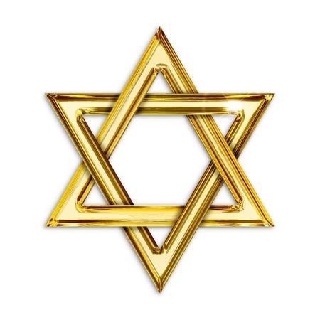hexagram: Illustration of golden hexagram on white background Stock Photo
