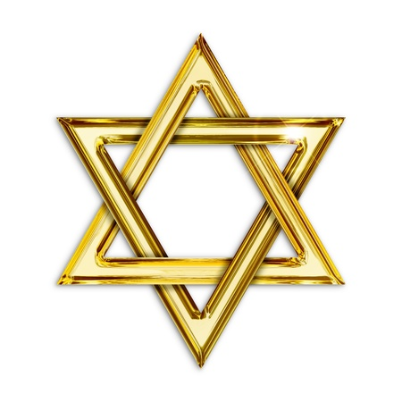 zionist: Illustration of golden hexagram on white background Stock Photo