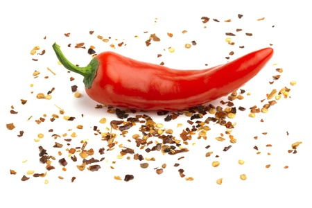 red chili pepper isolated on ground pepper photo