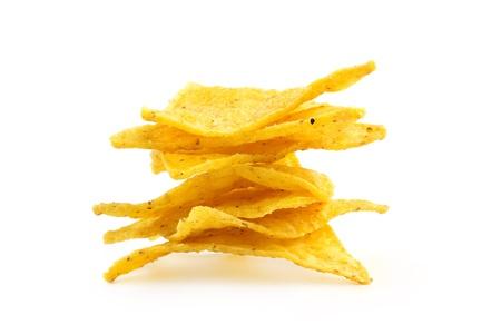 corn chip: heap of nachos isolated on white background Stock Photo