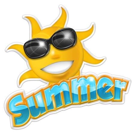 illustration of summertime isolated on white background