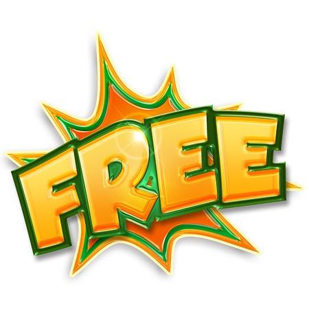explosieve gratis tag op een witte achtergrond
