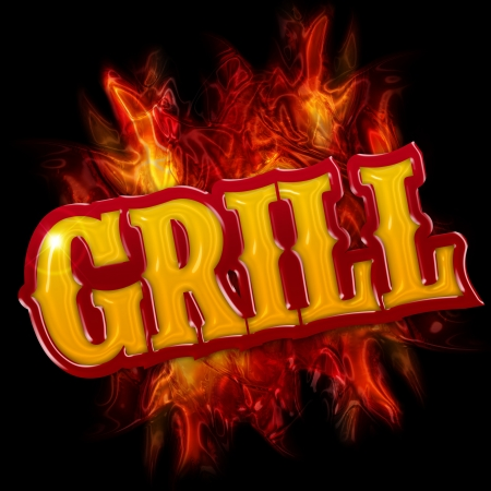 grill label with flames on black background