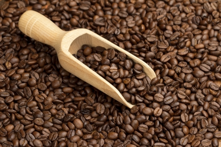 wooden scoop on a coffee beans background photo