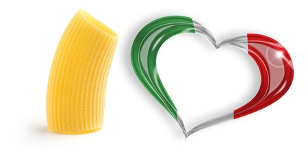 specialities: one macaroni and heart with italian flag colors