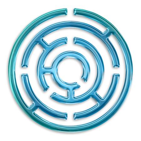 light blue maze isolated on white background photo