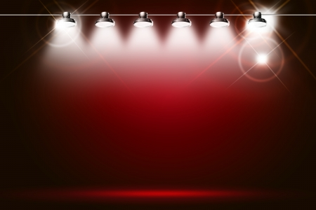 concert background: red background illuminated by spotlights and sparkles
