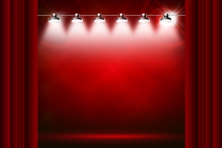 stage decoration abstract: red background illuminated by spotlights and sparkles