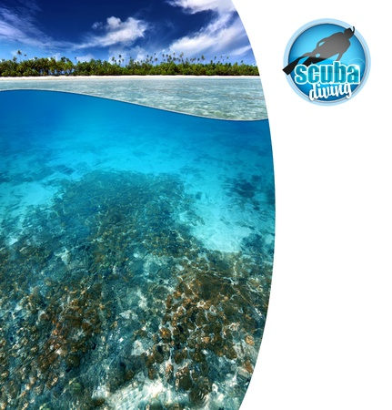 scuba mask: view of tropical reef with copy space
